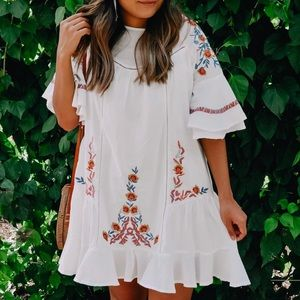 Chicwish Flawless Boho Floral Embroidered Dress